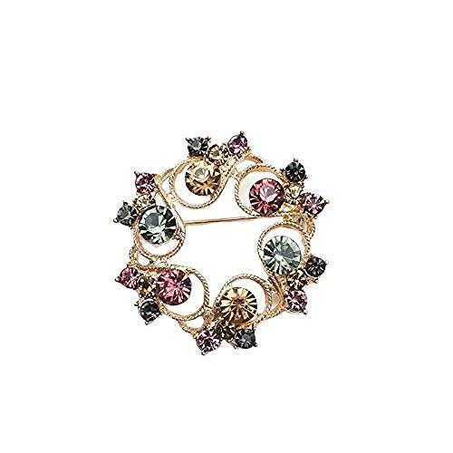 FOPUYTQABG Broche Broche Guirnalda de Cristal de Lujo para Mujer, Diamantes de imitación, Exquisito Broche de Pop, Ramo Elegante de Flores, Exquisito, Broche de Pop, Ramillete de Novia