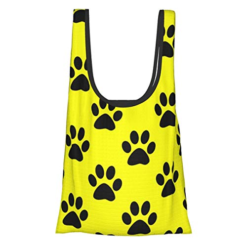 Bolsas de comestibles reutilizables plegables bolsas de compras Eco amistosas bolsas de tela resistentes al agua ligeras fuertes de una pulgada de color negro huellas de la pata en amarillo
