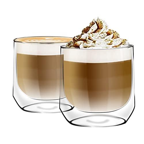 [6-Pack,250ml/8.5oz] Design•Master - Hochwertiges doppelwandiges Isolierglas, Kaffee- oder Teeglasbecher, thermoisoliertes Glas, perfekt für Latte, Cappuccino, Americano, Tee und Getränke.