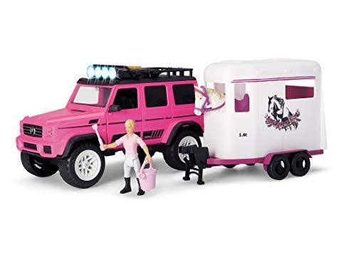 Dickie Toys 203838007 Horse Trailer Playlife Mercedes Benz AMG 500 Set, 18-teiliges Spielset, Zubehör, Pferdeanhänger mit Pferd & Figur, Licht & Sound, inkl. Batterien, 40 cm, pink, ab 3 Jahren