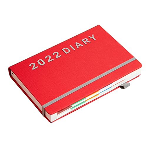 WGH 2022 Planner-Weekly & Monthly Planner with Monthly Tabs,Jan.2022-Dec.2022,5.7″x8.4″,Flexible Hardcover with Thick Paper,Elastic Closure (Color : Red)