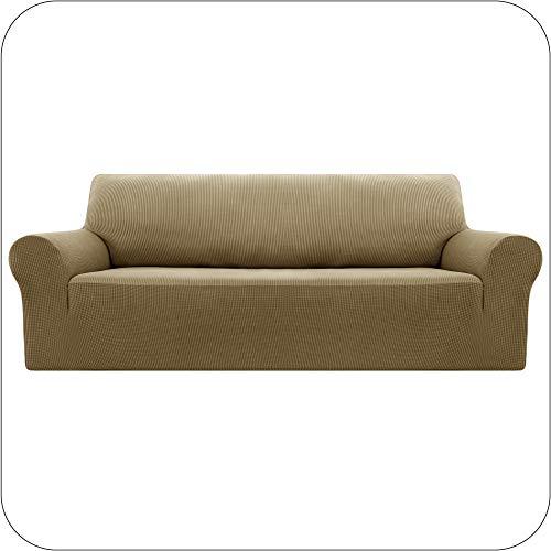 UMI by Amazon Funda Sofa Suave Elastica de Color Liso 3 Plazas Lino Amarillo