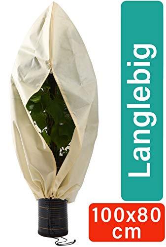 Winterschutz für Pflanzen 100 x 80 cm Atmungsaktiv - Reißfest - Waschbar - Wiederverwendbar - 80 g/m² Stark