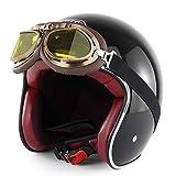 Evin 3/4 Motorradhelm, Unisex Adult Open Helm (T 50 Route 66) für Flugbrillen,Black,L