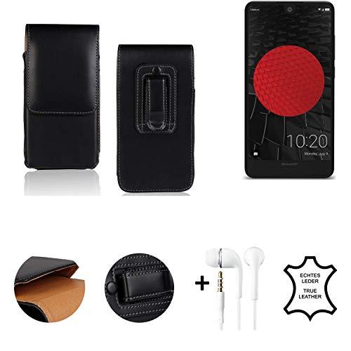 K-S-Trade® Leder Gürtel Tasche + Kopfhörer Für Sharp Aquos C10 Seitentasche Belt Pouch Holster Handy-Hülle Gürteltasche Schutz-Hülle Etui Schwarz 1x
