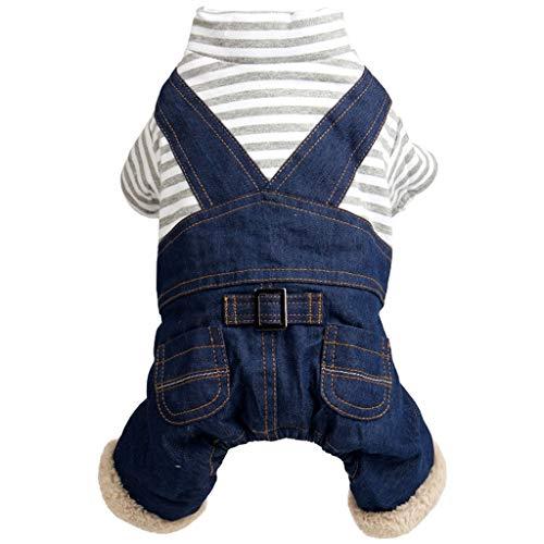 Huisdier kleding LHY Rood/wit/blauw Vierbenige Herfst en Winter Wear Jeans mode