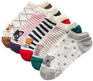 Yue668, Yue668 - Calcetines Cortos para Mujer, diseño de Gato y Gato, 5 Unidades, de algodón con diseño de algodón, Transpirables, antibacterianos