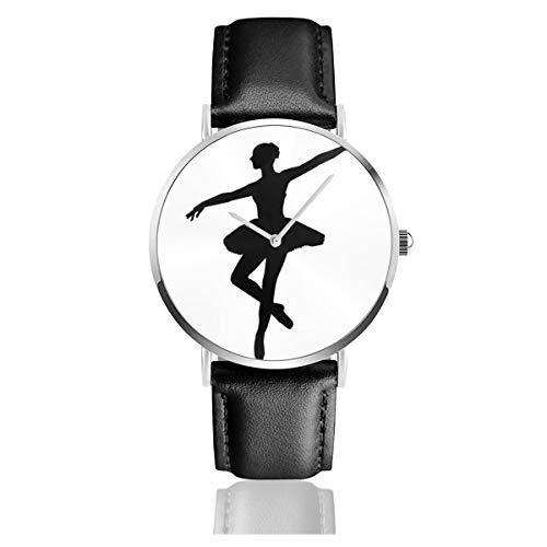 Reloj de Pulsera de Cuarzo analógico con Esfera de Bailarina en Blanco y Negro con Correa de Piel sintética para Mujer