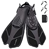 OMGear Swim Fins Snorkel Fins Short Diving Fins Swim Flippers Open Heel with Mesh Bag for Lap Swimming Snorkeling Diving...