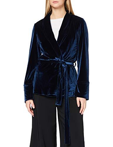 Marca Amazon - find. Chaqueta Terciopelo Lazada en la Cintura Mujer, Azul...