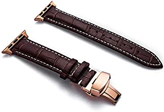 Genuine Leather Band for Apple Watch Band 42mm 44mm, Leather Watch Strap Compatible with Women Men Apple Watch Series 4 (44mm) Series 3 Series 2 Series 1 (42mm) Sport and Edition (Dark Brown)