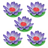 OSALADI - Velas flotantes de flor de loto, farol con vela para piscina, estanque, jardín, boda,...