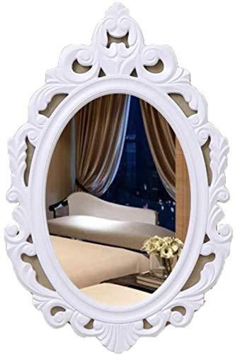 Espejo de Maquillaje Espejo de Pared Decorativo Redondo Colgante Biselado Ovalado Espejo de Pared de Alta definición para baño Vestidor Oficina (Color: Blanco) Iteration