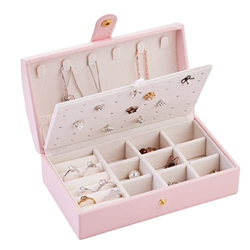 KSFBHC Joyero Caja Arco Collar Anillo Pulsera Pendientes Partamentos Maquillaje Lápiz Labial Almacenamiento (Color : Pink)