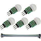 Youmile 5Pack IR Sensor Humano AM312 Mini módulo Detector HC-SR312 Detector automático de Movimiento PIR infrarrojo piroeléctrico DC 2.7 a 12V para Arduino 2 A1U2 con Cable Dupont