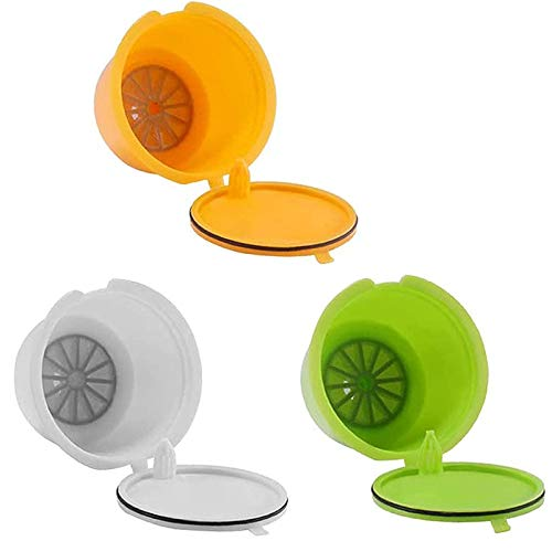 3 piezas Filtros Cápsulas de Café Cápsulas de café Reutilizable con 1 Cucharón de Plástico y 1 Cepillo para Cápsulas Filtros para Cafetera Dolce Gusto Recargables (Amarillo Verde y Blanco)