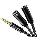 POSUGEAR Cable Divisor de Audio para micrófono, 3.5 mm Macho a 2 Dual 3.5 mm Hembra Oro Chapado en Oro Compatible con iPod, Auriculares,Teléfonos móviles, Reproductores de Xbox One, PS4, PC y MP3