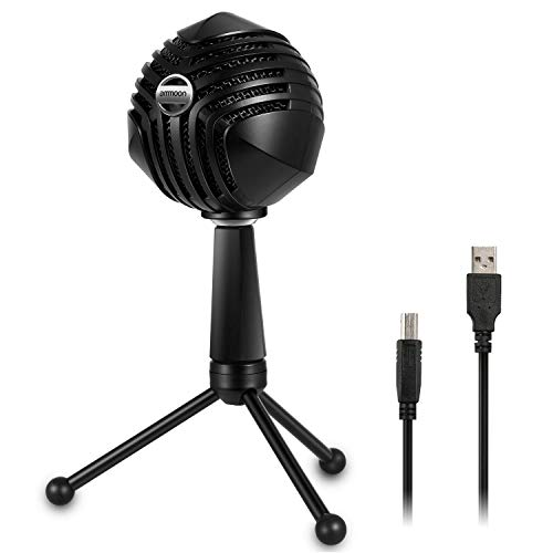 ammoon USB Microphone, Computer Condenser Mic with Desktop Mini Metal Tripod Stand for Laptop PC Computer Playing Games, Studio Recording Vocals, Streaming Broadcast and YouTube Videos