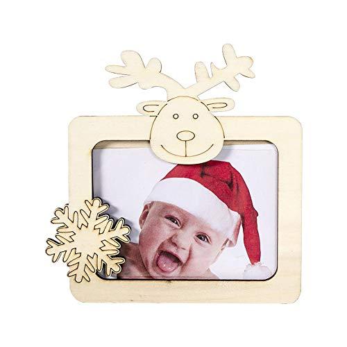 Happt Portafotos De Madera - Navidad Ornamnet Portafotos De Madera para Niños para Decoración Navideña De...