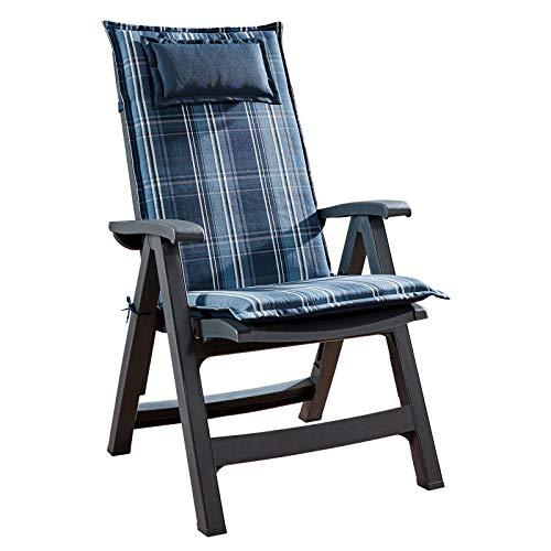 Homeoutfit24 Sun Garden 1-Stück Gartenstuhl-Auflage Donau in Blau/Weiß, gepolstertes Sitzkissen mit Kopfpolster für Hochlehner-Gartenmöbel, abnehmbar und waschbar, 120 x 50 x 6 cm