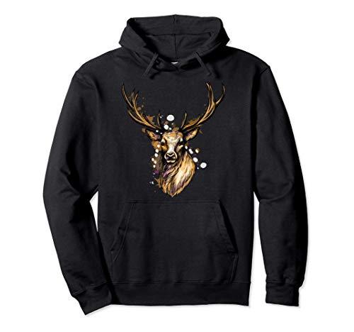 Buck Stag Deer Head Antlers Reindeer Animal Lovers Gifts Pullover Hoodie