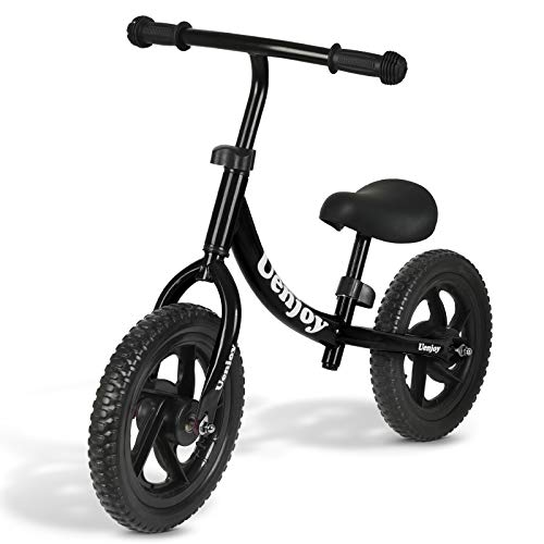 "Uenjoy Kids Balance Bike for 2-4 Years Old Boys & Girls, Toddler Balance Push Bike with 12"" EVA Polymer Foam Tire for Children, Height Adjustable, Lightweight Frame, Black"