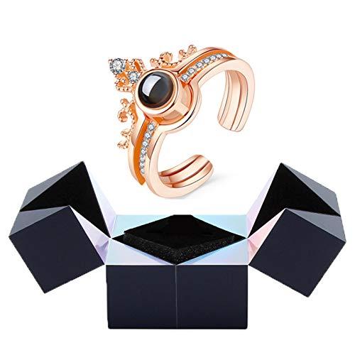 Alan Joyero Creativo con Anillo y Rompecabezas, I Love You Pulsera con Anillo de proyección con Caja de Anillo con Cubo mágico Caja de Regalo giratoria (Color : Gold)