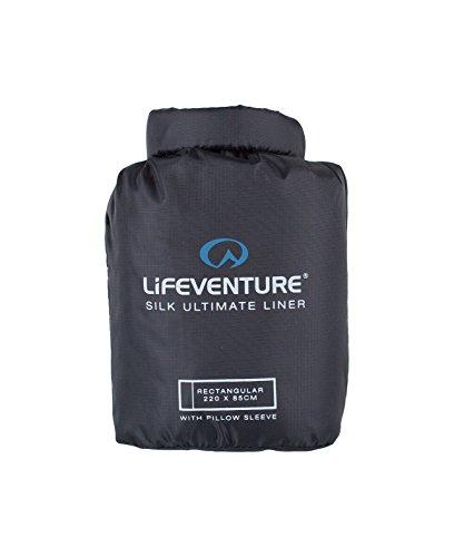 Lifeventure Silk Ultimate Sleeping Bag Liner, Rectangular Shape (Black) Doublure de Sac de Couchage Unisex-Adult