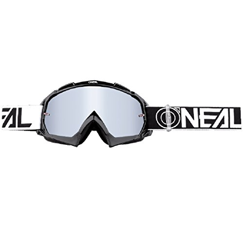 O'NEAL | Fahrrad-& Motocross-Brille | MX MTB DH FR Downhill Freeride | Hochwertige 1,2 mm-3D-Linse für ultimative Klarheit, UV-Schutz | B-10 Goggle TWOFACE | Schwarz Silber | One Size