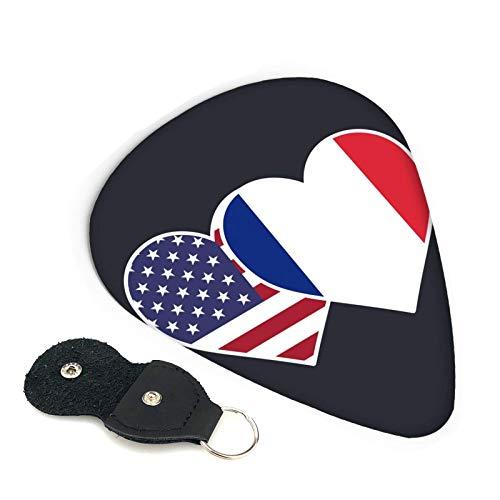 Púas de guitarra de doble corazón con bandera de Francia, paquete de 6, adecuado para guitarra, ukelele, bajo, guitarra eléctrica