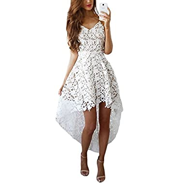 Alvaq Women's Summer Casual V Neck Bridesmaid Lace High Low Party Midi Dress Wedding Cocktail White Small