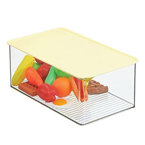 mDesign Caja de almacenamiento de plástico apilable con tapa para organizar juguetes de bebé/niños/niños, figuras de acción, ceras, marcadores, bloques, rompecabezas,...