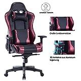 Wolmics Gaming-Stuhl mit großem Lendenkissen,180 kg kelastbarkeit Computerstuhl Schreibtischstuhl Rennstil Ergonomisches Design Bürostuhl PU-Leder Drehstuhl Chefsessel