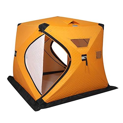 Outdoor Camping Winterzelt Tragbare Winter-Fischen-Zelt Pop-up-EIS-Fischen Schutz for 2-3 Personen Warme Wasserdichten Ice Zelt for Winter-Camping (Farbe : Orange, Größe : 150x165x180cm)
