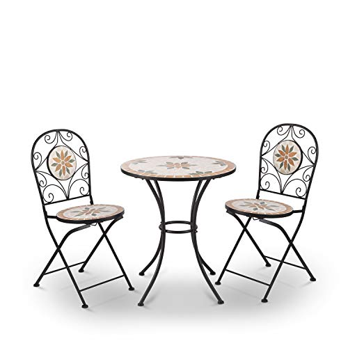 Alpine Corporation Indoor/Outdoor 3-Piece Mosaic Bistro Set Folding Table and Chairs Patio Seating, Tan