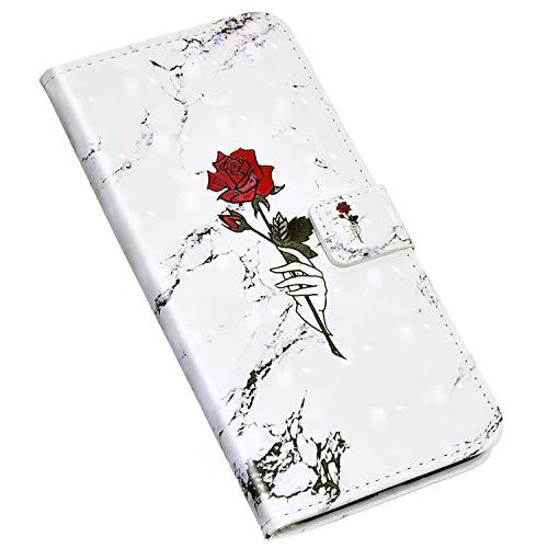 Jinghuash Kompatibel mit Samsung Galaxy Note 10 Plus/Note 10 Pro Hülle Schutzhülle Lederhülle Creative 3D Gemalt Muster PU Leder Flip Case Brieftasche Klapphülle Tasche HandyHülle-Rose