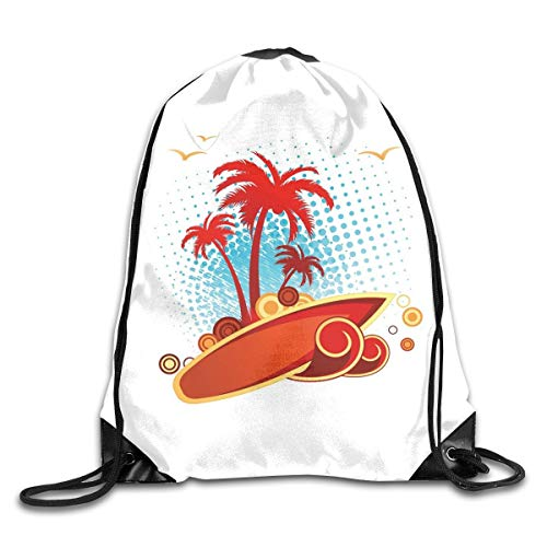 NoBrand Drawstring Backpack Sports Gym Bag for Women Men, D0576 Exotic Halftone Background With Circles With Palms Seagulls Tropics