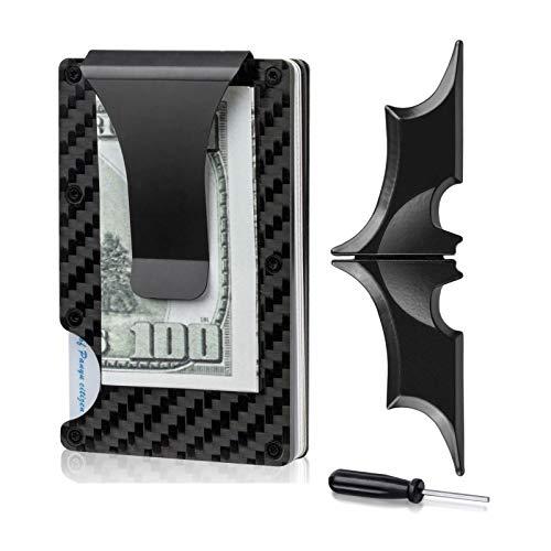 Wallets for Men, Money Clip & RFID Blocking Wallet, Minimalist Carbon Fiber Wallet
