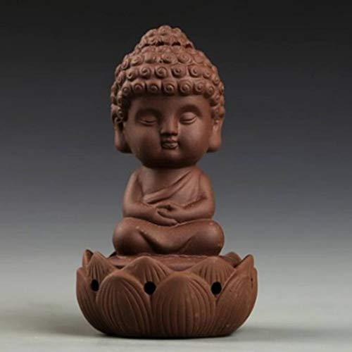 OMUSAKA Little Monk Räuchergefäß Räucherstäbchenhalter Lotus Base Kleiner Buddha Kreativer Rückfluss Home Teahouse Decor Räuchergefäß