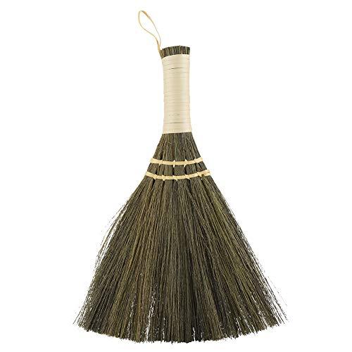 10,2-inch handgemaakte bezem, handmatige stro gevlochten kleine bezem, handgemaakte stofvloerreiniging Veegbezem zachte hakken, voor het verwijderen van bont of haar.