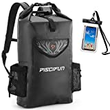 Piscifun Wrapper Dry Backpack with Waterproof Phone Case - Waterproof Floating Black Dry Bag 20L for Fishing, Kayaking, Boating, Swimming, Camping, Hiking