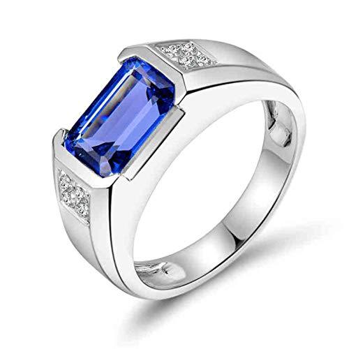 Beydodo Anillo de Boda Hombre,Anillo Compromiso Hombre Oro Blanco 18K Plata Azul Rectángulo Tanzanita Azul 4.46ct Diamante 0.12ct Talla 17(Circuferencia 57MM)
