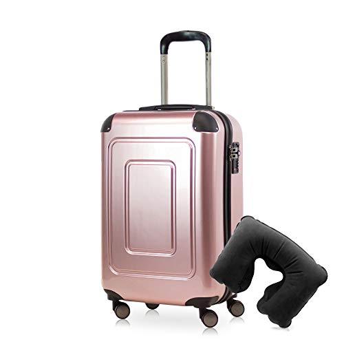 Happy Trolley - Lugano Handgepäck Kabinentrolley Bordgepäck Hartschalen-Koffer Trolley Reisekoffer, sehr leicht, TSA, 55 cm, 40L, Rose Gold +Nackenkissen