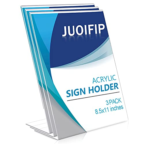 JUOIFIP 3 Pack Acrylic Sign Holder, 8.5x11 inches Sign Holders Plastic Paper Stand, Slant Back Sign Holder Clear Plastic Display Holder, Table-top Sign Holder Perfect for Office, Store, Restaurant