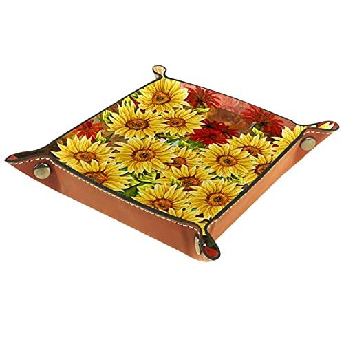 Bandeja de cuero para hombres y mujeres, organizador de escritorio personalizado para joyas, cosméticos, gafas, cartera, uso doméstico, girasoles, amarillo, rojo, pintura floral