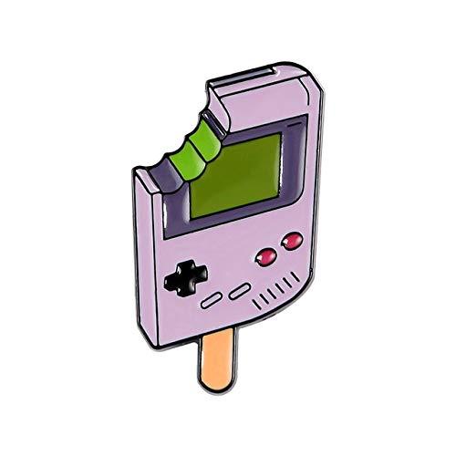 Juego esmalte Pin Rosa púrpura nostálgico Gashapon Broches Bolsa Ropa Pin de solapa Insignia de consola de juegos portátil