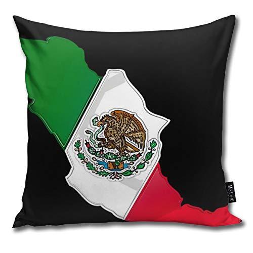 BwwoBing Throw Kussenhoes voor slaapbank, sofa, woondecoratie, vintage, de nationale vlag en de kaart van Mexico patroon vierkant 45 x 45 cm