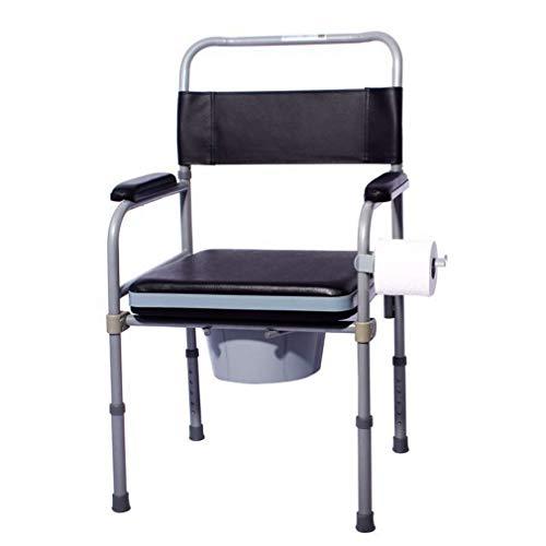 AGWa Klappbarer Toilettenstuhl und Toiletteneinfassung, älterer Toilettensitz aus Leder, Toilettenstuhl für Schwangere, behindertengerechter Toilettensitz, faltbare Höhenverstellung, Komfortstuhl