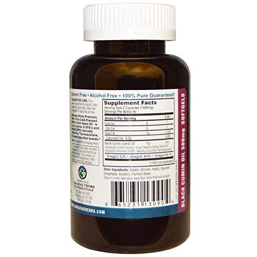 『Amazing Herbs Cold-Pressed Black Seed Oil 500mg Softgels - 90 Capsules』の1枚目の画像
