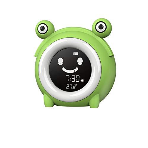ZBNZ Niños Niños Entrenamiento para dormir LED Luz nocturna Pantalla de temperatura Reloj despertador Reloj electrónico de dibujos animados Reloj despertador inteligente para dormir